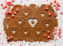 Baking homemade cookies heart on Valentine's Day, view from above Royalty Free Stock Photography