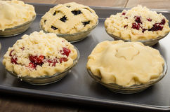 Baking homemade fresh fruit pies. Homemade fresh fruit pies on a tray made with strawberries raspberries blueberries blackberries Stock Images