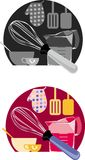 Baking icons. A set of baking icons in black and white and color royalty free illustration