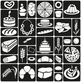 Baking icons on black Stock Images
