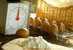 Baking Ingredient. Table full of various ingredient Stock Images
