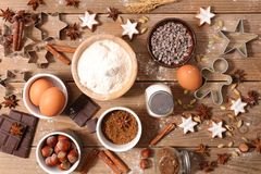 Baking ingredient for christmas stock photo