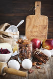 Baking ingredient on wooden background. Royalty Free Stock Images