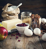 Baking ingredient on wooden background. Stock Photography