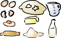 Baking ingredients. Various cooking preparation illustration hand-drawn look Stock Photos