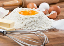 Baking ingredients. Basic ingredients for baking. All the ingredients and utensils essential for baking Stock Image