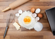 Baking ingredients. Basic ingredients for baking. All the ingredients and utensils essential for baking Stock Photo