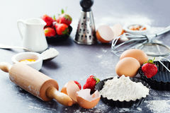 Baking ingredients and berries Stock Image