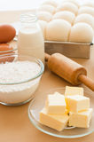 Baking ingredients with bread dough in tin. Royalty Free Stock Images