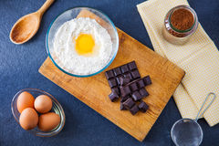 Baking ingredients for a chocolate cake Royalty Free Stock Photography