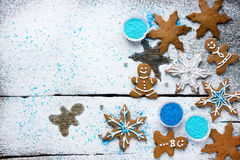 Baking ingredients for Christmas cookies and gingerbread Royalty Free Stock Photos