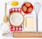 Baking ingredients collection on white Royalty Free Stock Photos