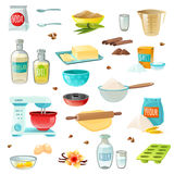 Baking Ingredients Colored Icons. Baking ingredients colored isolated icons set with flour sugar salt butter eggs milk cinnamon vanilla vector illustration stock illustration
