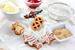 Baking ingredients for cookies and gingerbread Stock Photography