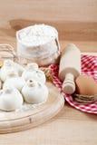 Baking ingredients for cooking manti dumplings. Stock Images