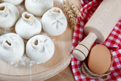 Baking ingredients for cooking manti dumplings. Royalty Free Stock Photography