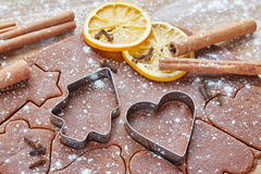 Baking ingredients and cutters for Christmas cookies and gingerbread Stock Images