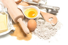 Baking ingredients, dough preparation, food background Stock Photos