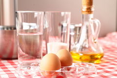 Baking ingredients for dough preparation Royalty Free Stock Photo