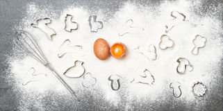 Baking ingredients Easter food background Stock Photos