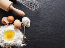 Baking ingredients: egg and flour. Royalty Free Stock Photography