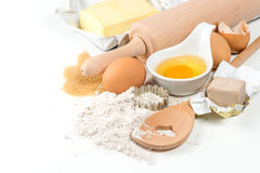 Baking ingredients eggs, flour, yeast, sugar, butter Royalty Free Stock Photo