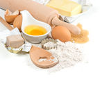 Baking ingredients eggs, flour, yeast, sugar, butter. kitchen ut Royalty Free Stock Photography