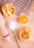 Baking ingredients flour rolling pin eggs Royalty Free Stock Image