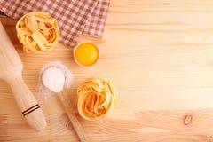 Baking ingredients flour rolling pin pasta Stock Image
