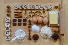Free Baking Ingredients For Christmas Cookies Royalty Free Stock Image - 101468156
