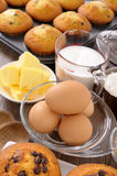 Baking cake, ingredients with fresh muffins Stock Photography