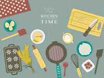 Baking ingredients on kitchen table in flat design vector illustration