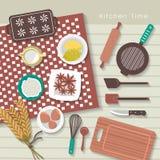 Baking ingredients on kitchen table in flat design Royalty Free Stock Photos
