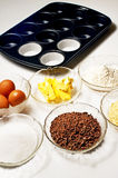 Baking ingredients for muffins Royalty Free Stock Photo