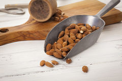 Baking ingredients - Peeled Almonds Stock Photos