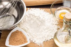 Baking ingredients with rolling-pin Stock Photos