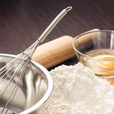 Baking ingredients with rolling-pin Royalty Free Stock Photo