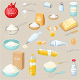 Baking ingredients set. Sugar, salt, flour. Baking and cooking ingredients vector illustration. Kitchen utensils. Food vector illustration