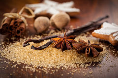 Baking ingredients and spices Royalty Free Stock Photos