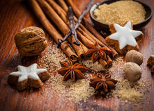 Baking ingredients and spices Stock Photos