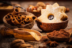 Baking ingredients and spices Stock Images