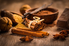 Baking ingredients and spices Royalty Free Stock Image