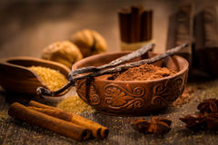 Baking ingredients and spices Royalty Free Stock Photography