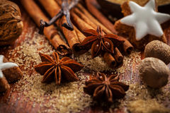 Baking ingredients and spices for Christmas cookies Royalty Free Stock Photos