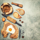 Baking ingredients and spices. Flour, eggs, sugar Stock Photos