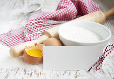 Baking ingredients on a table Royalty Free Stock Photos