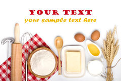 Baking ingredients with text space on white Royalty Free Stock Image