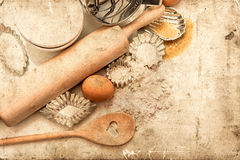 Baking ingredients and tolls for dough preparation. retro style Royalty Free Stock Photos