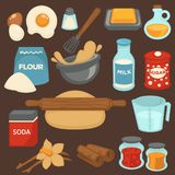 Baking ingredients and tools for bread and pastry cakes vector flat icons. Baking ingredients and baker kitchen tools for bread and pastry cakes bake. Vector Royalty Free Stock Photo