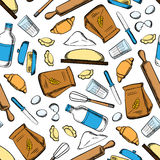 Baking ingredients and utensil pattern. Homemade baking ingredients and utensil seamless pattern with flour and milk, eggs and butter, dough and rolling pins royalty free illustration